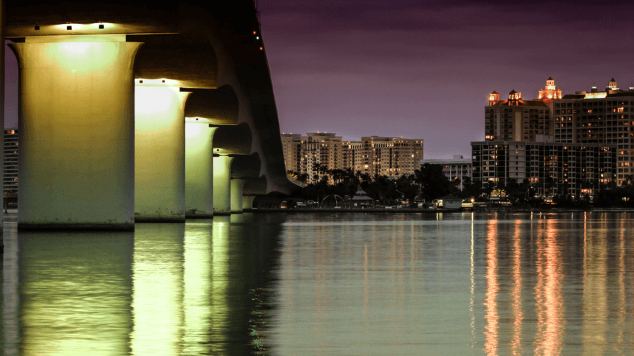 Ringling Bridge at night